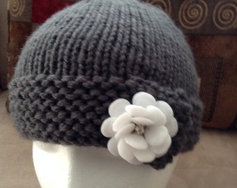 Wide-Brimmed Knit Hat with Flower Button