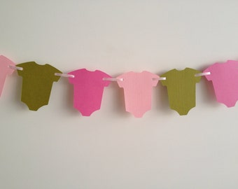 Pink and Green Baby Shower Decor, Baby Shower Garland, Baby Shower Decor, Pink and Green Garland, Baby One-Piece Garland Decor