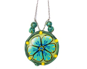 Polymer clay necklace Flower necklace Statement necklace Blue necklace Yellow necklace Round necklace Wire necklace One of a kind necklace