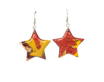 Polymer clay earrings Star earrings Copper earrings Yellow earrings Dangle earrings Brown earrings Abstract earrings Red earrings Casual