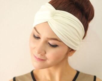 White Turban Twist Headband ,Simplicity Classic Hair Fashion Head Wrap, Wide Fabric