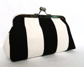 Black and White Stripe Monochrome Framed Clutch Purse, Made in UK