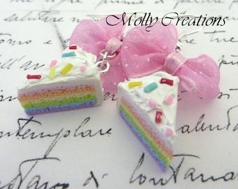 HandMade jewellery Fimo Polymer clay rainbow cake slice earrings