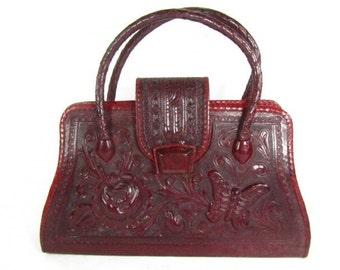Vintage purse, tooled leather purse, red leather purse, 1970s purse, hand bag, purse, bag,Mexico