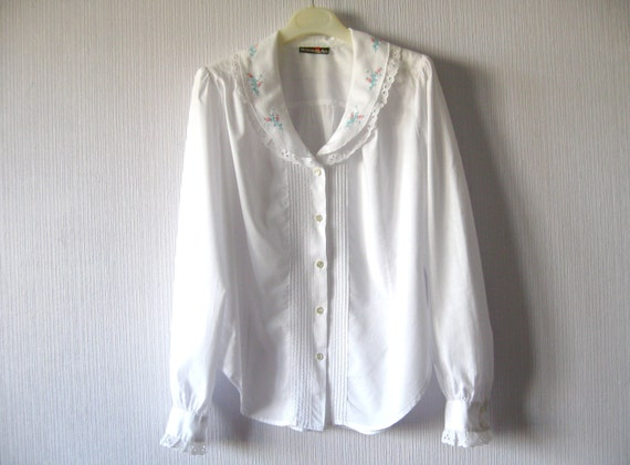 Embroidered Peasant Blouse Uk 36