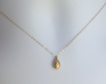 Teardrop Necklace - Gold Drop Necklace - Tiny Gold Drop Necklace, Gold Filled Necklace, bridesmaid gifts, Wedding, Mothers Day Gift