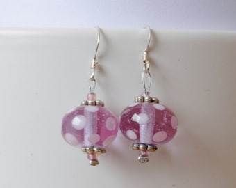 Clear pink Murano glass earrings