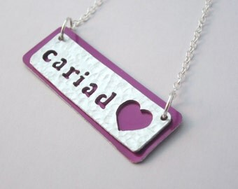 Cariad textured aluminium necklace