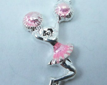 Pink Pom Poms Cheerleading silver Charms, Cheerleader 4 pc, 25x11mm, Cheer-leading, cheer team Jewelry, gift idea, party favor supplies