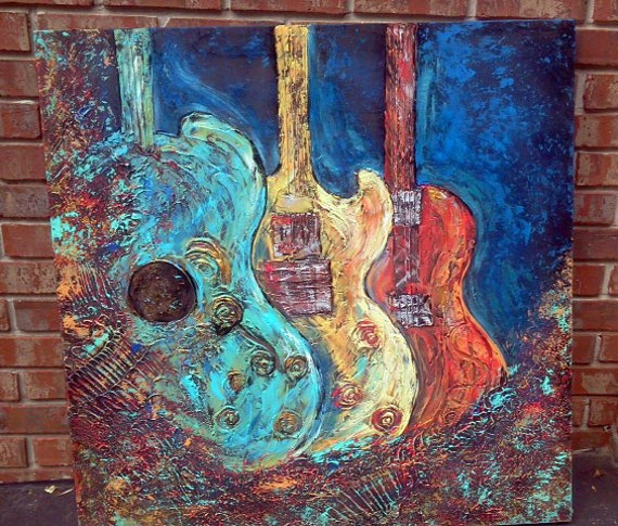 trio of guitars texture abstract acrylic art on wood canvas. Black Bedroom Furniture Sets. Home Design Ideas