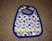 Waterproof Baby Bib with Pocket made from PUL and clear vinyl