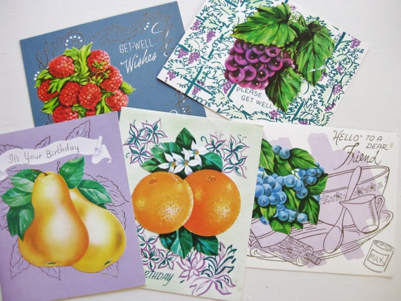 Five vintage fruit greeting cards with recipes. Vintage stationery. Old paper. Happy birthday. Friendship. Get well. 3D