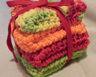 Baby Crochet Wash Cloths Red, Orange, Lime Green, and Varigated