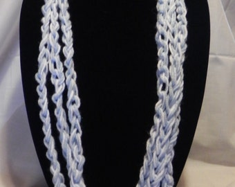 College Football Scarf/Necklace in Varigated Blue and White