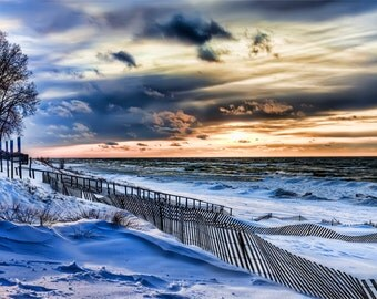 Michigan Photography, Michigan Art,Sunset Photography, Beach Print,Saugatuck Michigan,Oval Beach, Saugatuck,Beach Wall Decor,Winter Lake Art