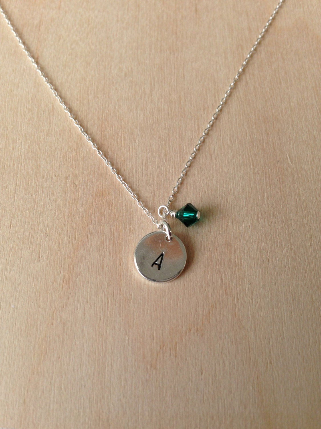 Tiny Sterling Silver Monogram Necklace Initial Necklace Sterling Silver Round Charm Birthstone
