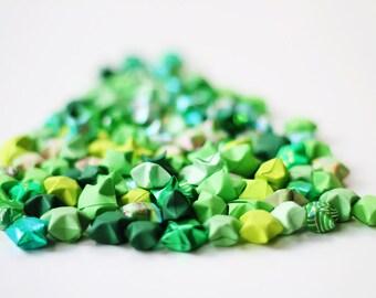 Green lucky stars - handfolded origami stars 100 pieces - handmade Japanese paper stars
