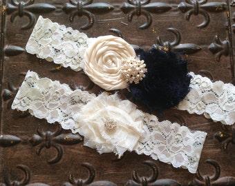 Navy Wedding Garter, Navy Bridal Garter - Something blue garter, Lace Wedding Garter, Navy Garter Set, Navy Wedding Garter Set, Shabby Gate