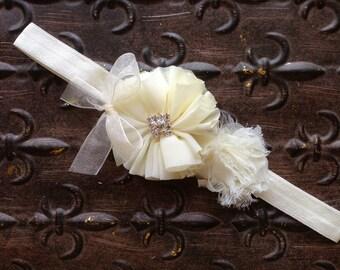 Flower Girl Headband, Ivory Flower Girl Headband, Ivory Baptism Headband, Ivory Flower Girl Head Piece, Ivory Flower Girl Head Wreath