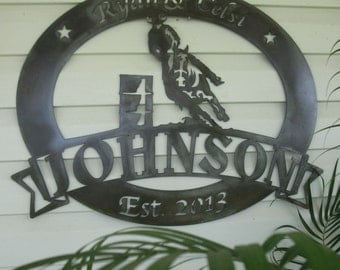 Personalized, metal sign with barrel racer