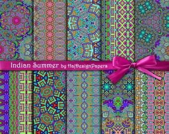 "Tribal digital paper : ""Indian Summer"" aztec digital paper, colorful oriental paper, tribal background, digital tribal patterns, decoupage"