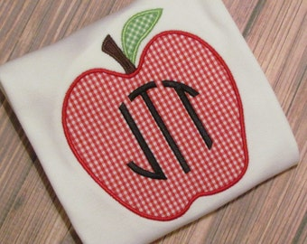 Personalized Back to School Apple Appliqué Shirt- Back to School Applique- Apple Applique FREE MONOGRAM