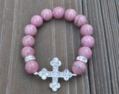 Rhodonite gemstone bracelet Christian Cross crystal pink mauve calm relax stacking bracelet religious