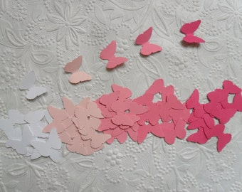 50 White, Light Pink, Pink, Bright Pink Butterfly Confetti-Ombre Pink-1 Inch-Scrapbooking-Embellishments-Baby Shower-Birthday Party