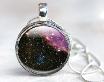 Space Pendant - Space Jewelry, Galaxy Stars Planets  Glass Necklace - Necklace Universe Art Picture Necklace Photo Pendant, space Jewellery