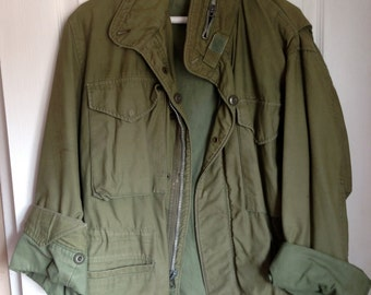 Vintage Army Green Jacket with Drawstring Waist