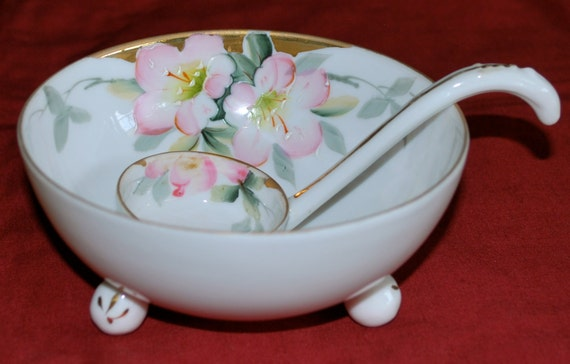 Nippon Hand Painted Porcelain Dish with Mayonnaise Spoon