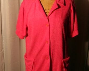 Hot pink terry cloth swimwear cover up