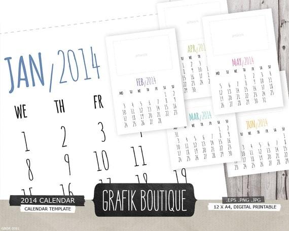 Typography Printable Calendar : Calendar template handwritten typography a printable x