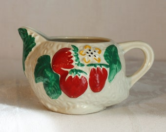 Vintage old strawberry creamer, old white with blossom strawberries and leaves hand painted design