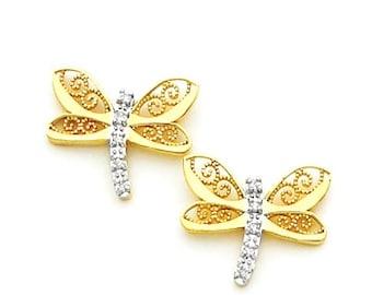 14k Diamond Two Tone Dragonfly Post Earrings, Diamond Dragonfly Earrings, Dragonfly, Diamond, 14k Solid Gold, Two Tone, Diamond Dragonfly