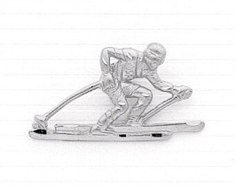 Sterling Silver, Male Skier Charm, Ski, Skier Jewerly, Winter Olympics, Skier Pendant, Sports