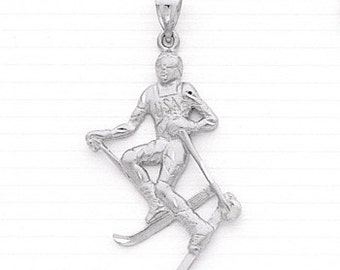 Male Skier Charm,Male Skier Pendant,Sports,Ski,Sterling Silver,Winter Olympics,Male Skier Jewelry