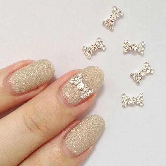 2 Pcs Silver Bow Rhinestone Metallic 3D Nail Art Charm / Decorations. Kawaii & Pretty