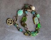 "Earthy Boho Wrap Bracelet Magnetic Clasp Wire Wrapped Fall Fashion ""Earthly Peace"""