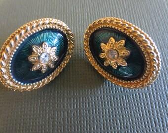Vintage green enamel rhinestone Ice oval earrings. St. Patrick's Day.  1960s.
