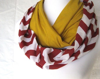 Red and Gold color block Chevron Infinity Scarf - ColorBlock Jersey Knit - ChevronScarf