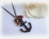 anchor black necklace