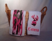 Custom Deer Silhouette and Camouflage Burp Cloth, Embroidered Name - Set of 2