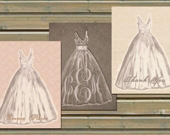Custom Wedding Gown Sketch Stationery