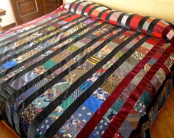 """One of a kind, rich, silk and velvet bedspread (king size) - """"Binding Ties"""""""