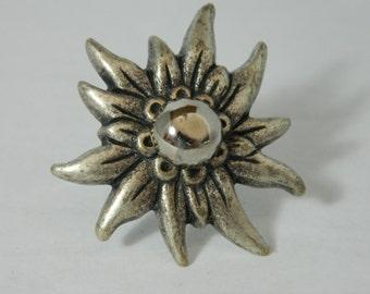 Antique silver flower button ring SKR112