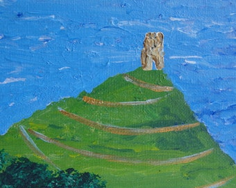 Golden Glastonbury Tor - acrylic on canvas board 7x5 inches