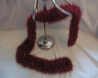 Knit Scarf - Cranberry with Orange Accents