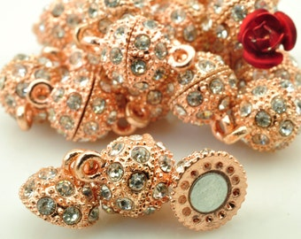 10 Sets  of Rose Gold plated Crystal Magnetic Clasp in 10mm