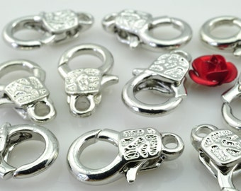 30 pcs of Antique Silver carved lobster clasp in 10mm wideX 17mm length